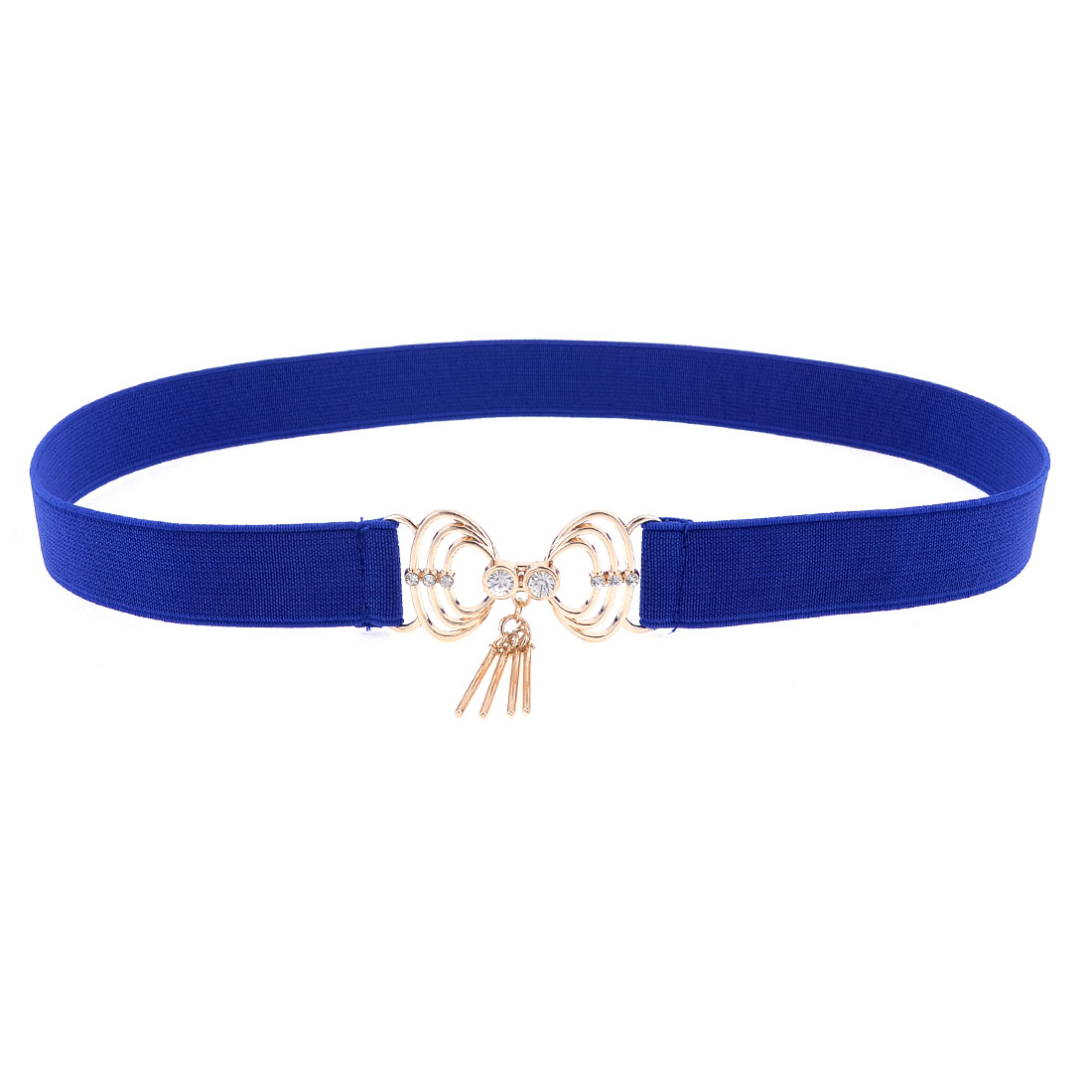 Lady Shell Shape Gold Tone Interlock Buckle Blue Elastic Cinch Belt