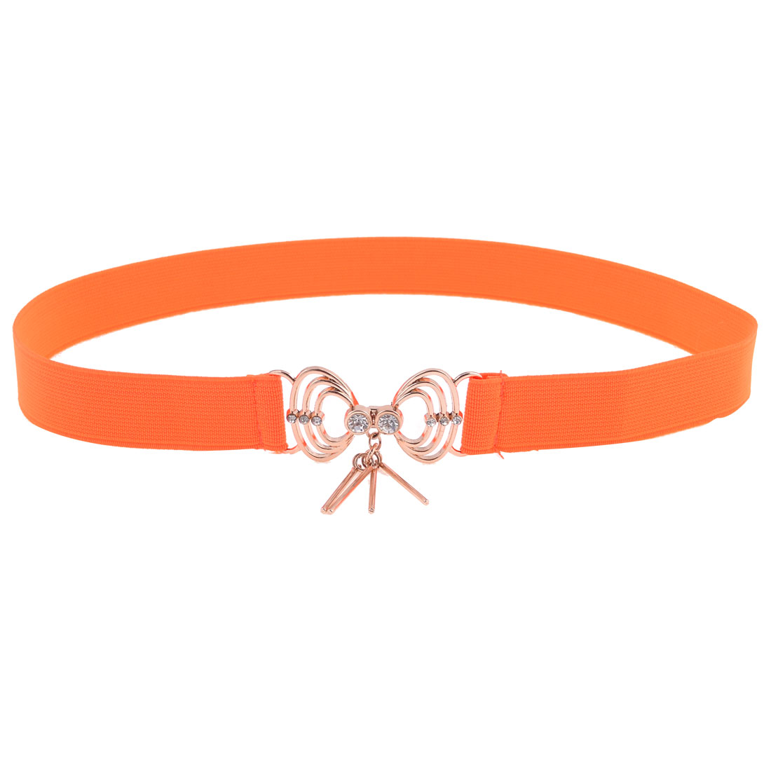 Lady Faux Cystal Detal Metal Interlock Buckle Orange Elastic Cinch Belt