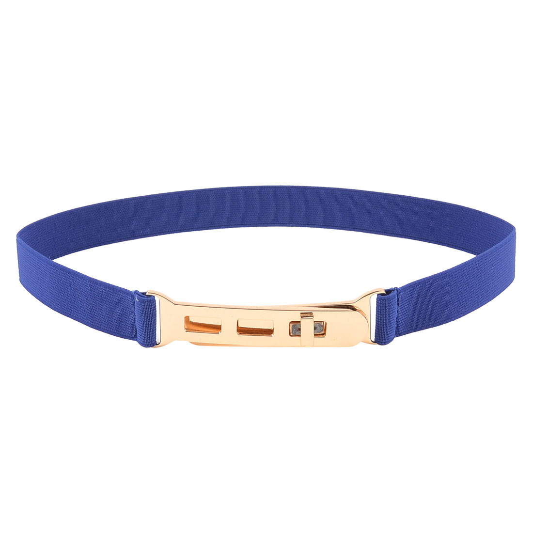 Blue Elastic Fabric Band Copper Tone Metal Turning Lock Buckle Belt
