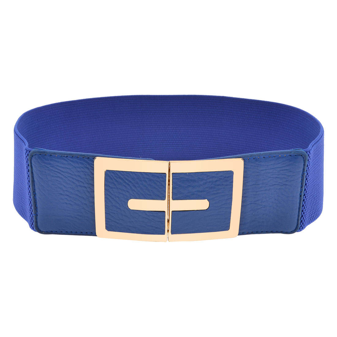 6cm Width Stretch Metal Interlock Buckle Blue Waist Belt Band Waistband for Lady