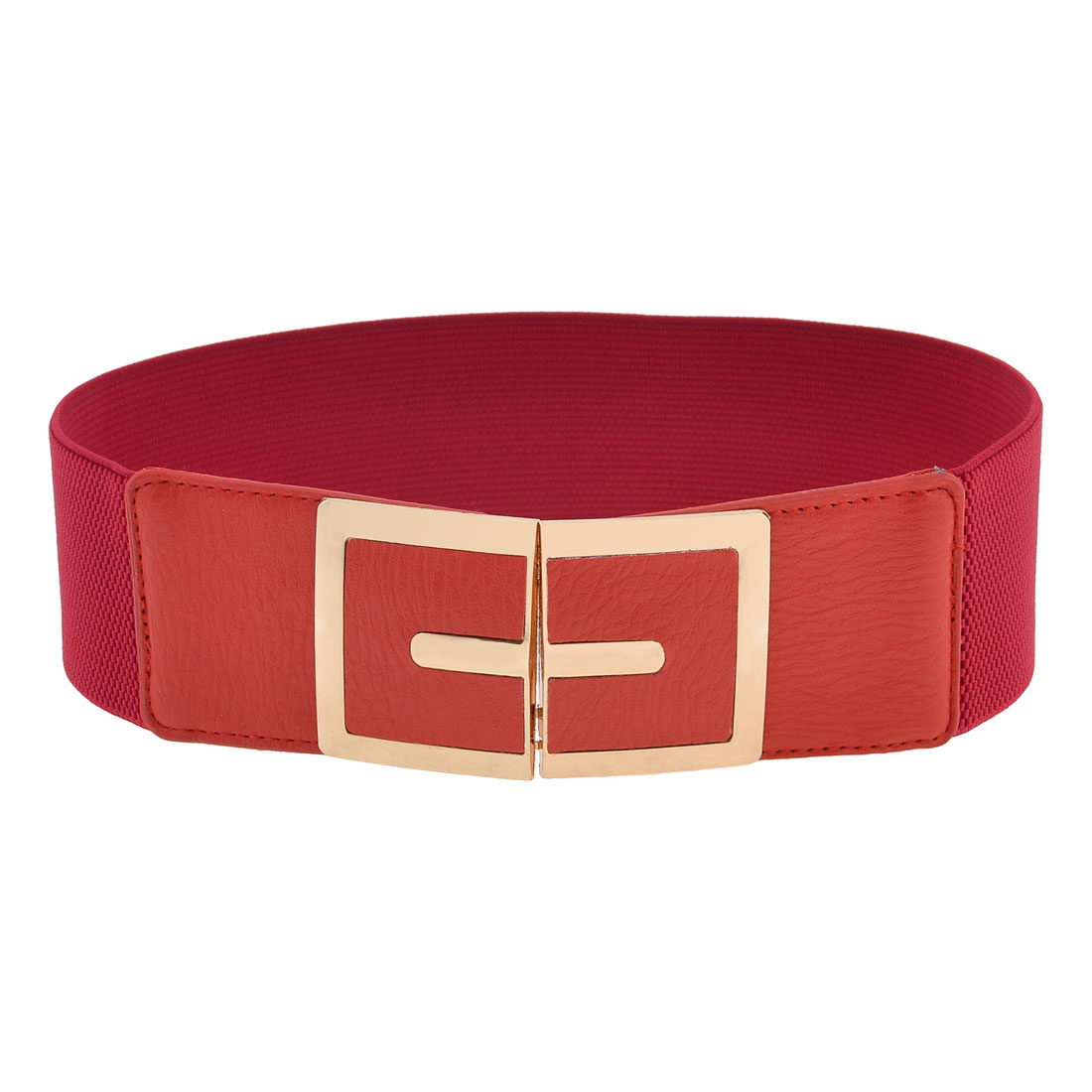 Woman Red Faux Leather Front Gold Tone Metal Interlock Buckle Elastic Waist Belt