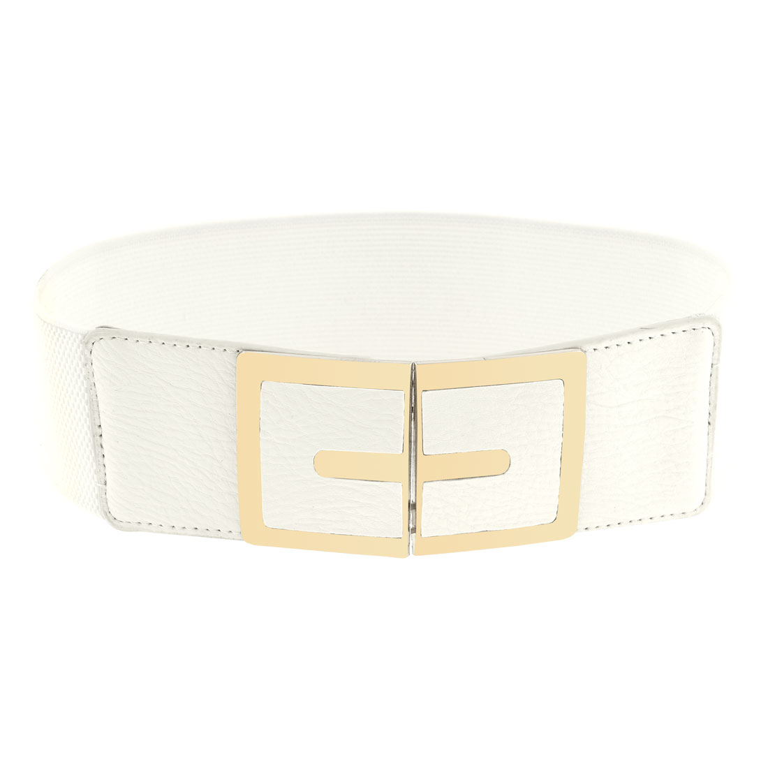 Lady Metal Interlock Buckle 6cm Wide Stretch Off White Waist Belt Band Waistband