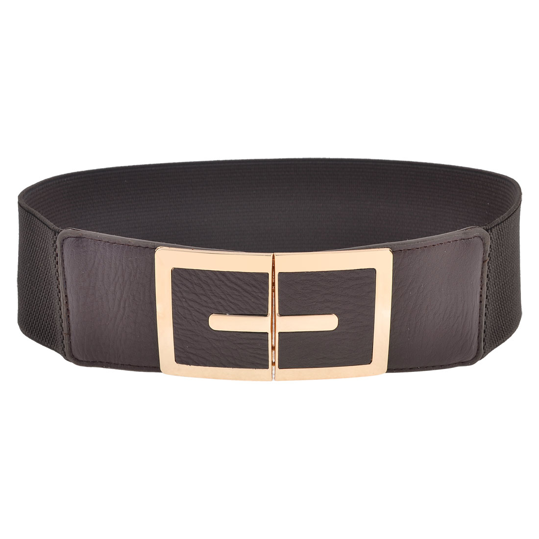Lady Faux Leather Front Metal Interlock Buckle Elastic Waistband Chocolate Color