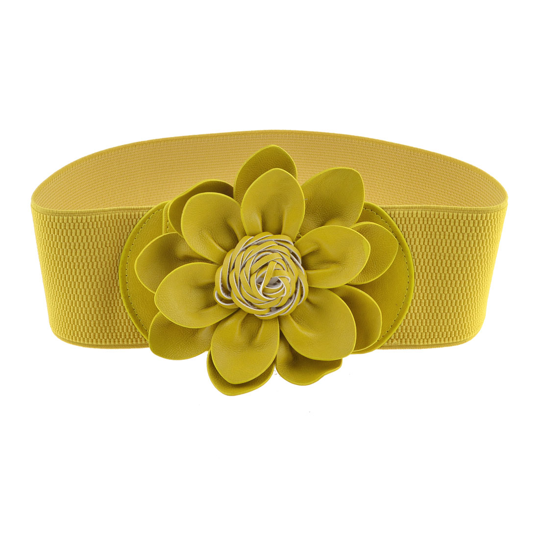 Metal Press Stud Buckle Flower Accent Stretchy Waist Belt Olive Yellow for Lady