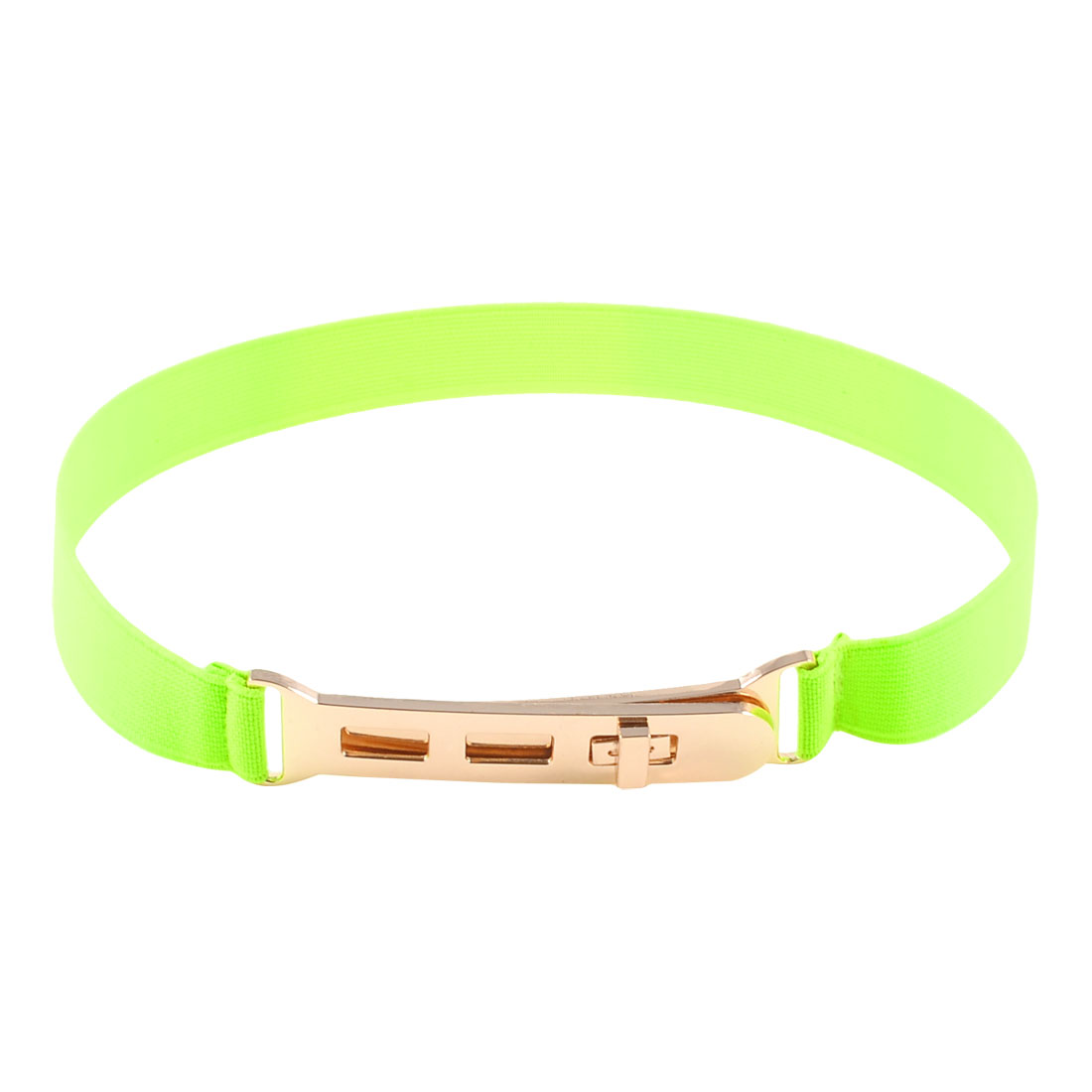 Yellow Elastic Slim Band Turn Lock Buckle Stretchy Cinch Belt