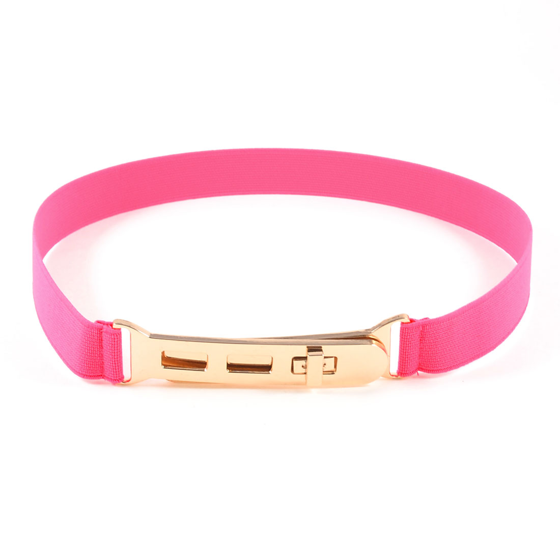 Pink Slim Elastic Band Turn Lock Waist Belt for Girls