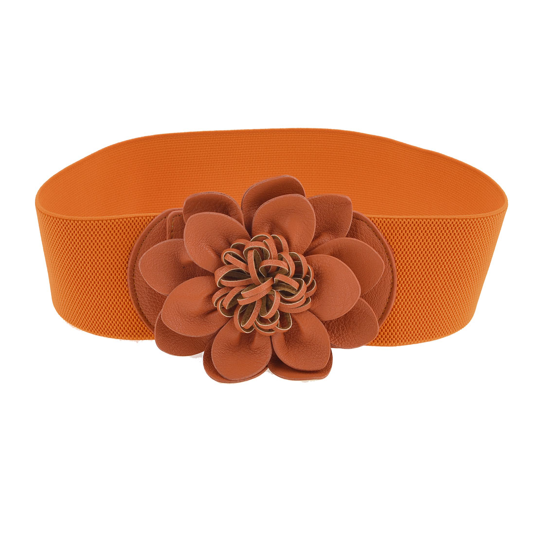 Ladies Press Stud Buckle Faux Leather Flower Accent Stretchy Waist Belt Orange