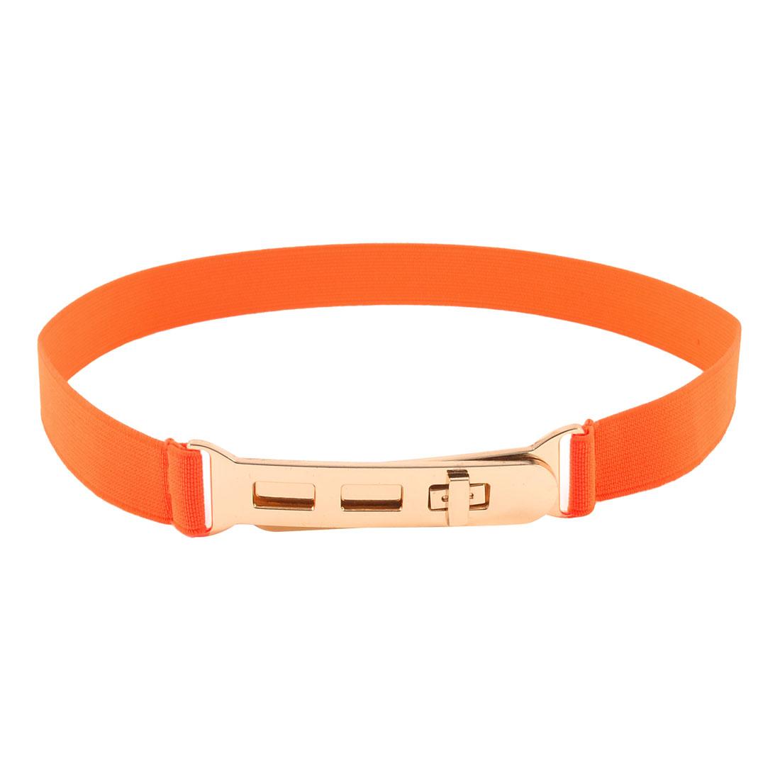 Orange Fabric Elastic Band Copper Tone Buckle Cinch Belt