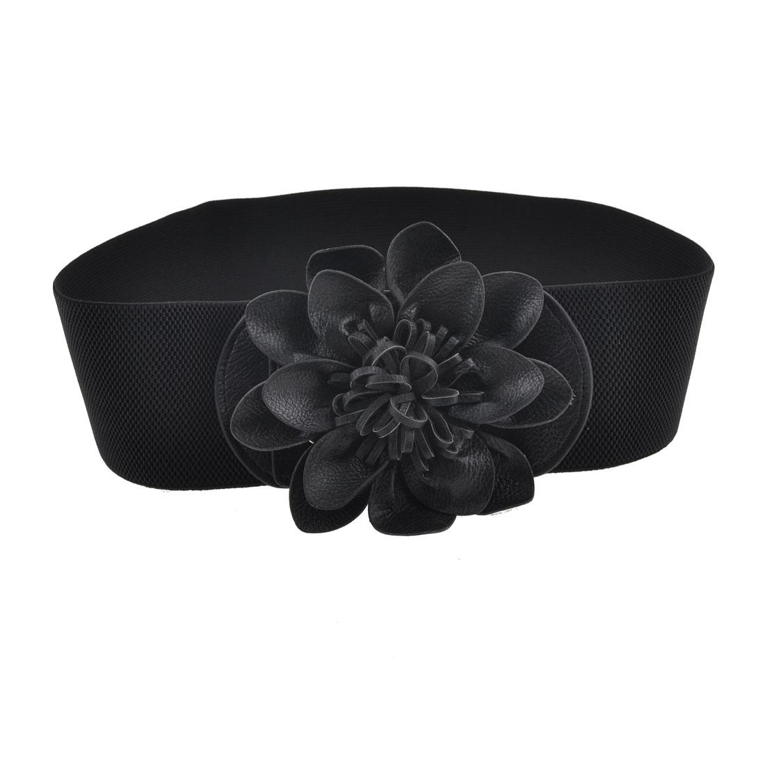 Woman Faux Leather Floral Decor Metal Press Stud Buckle Elastic Waist Belt Black