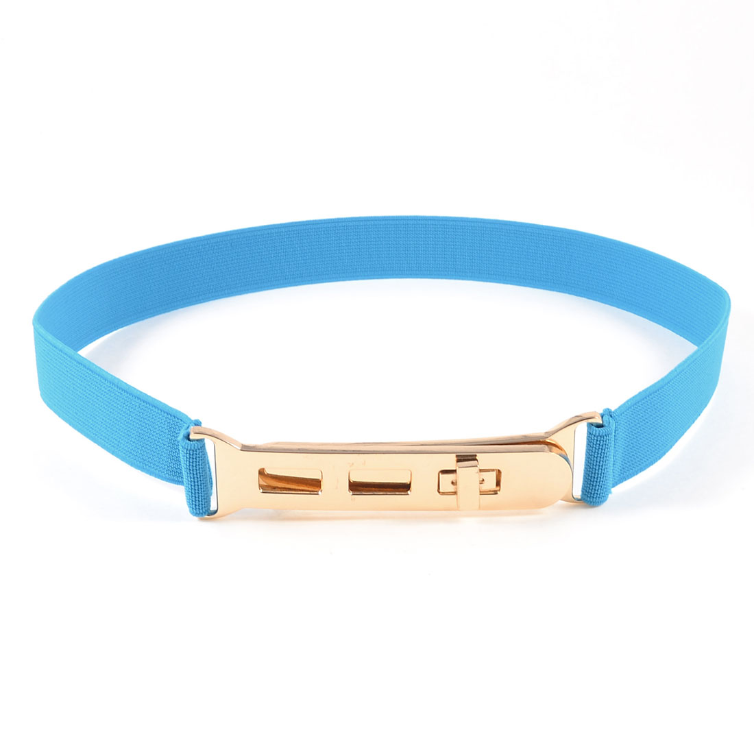 Sky Blue Copper Tone Stretchy Band Metal Buckle Cinch Belt