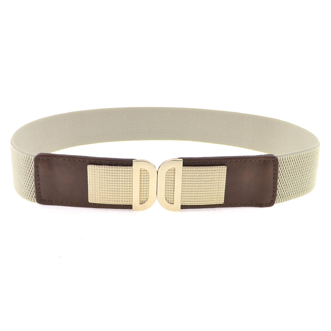 Lady Light Gray Double D Shape Gold Tone Interlocking Buckle Stretchy Cinch Belt