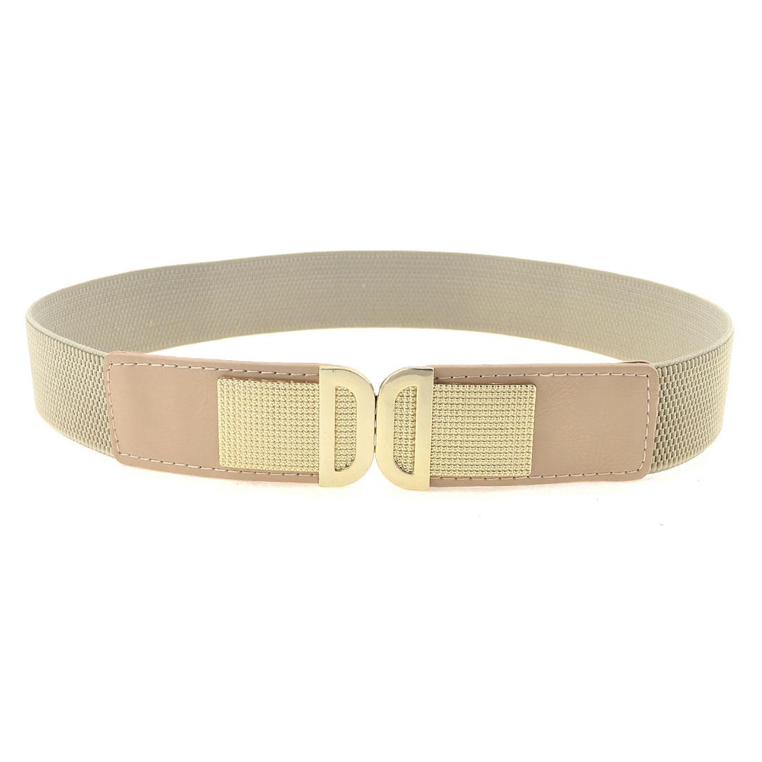 Lady Light Gray Litchi Print Gold Tone Interlocking Buckle Stretchy Cinch Belt