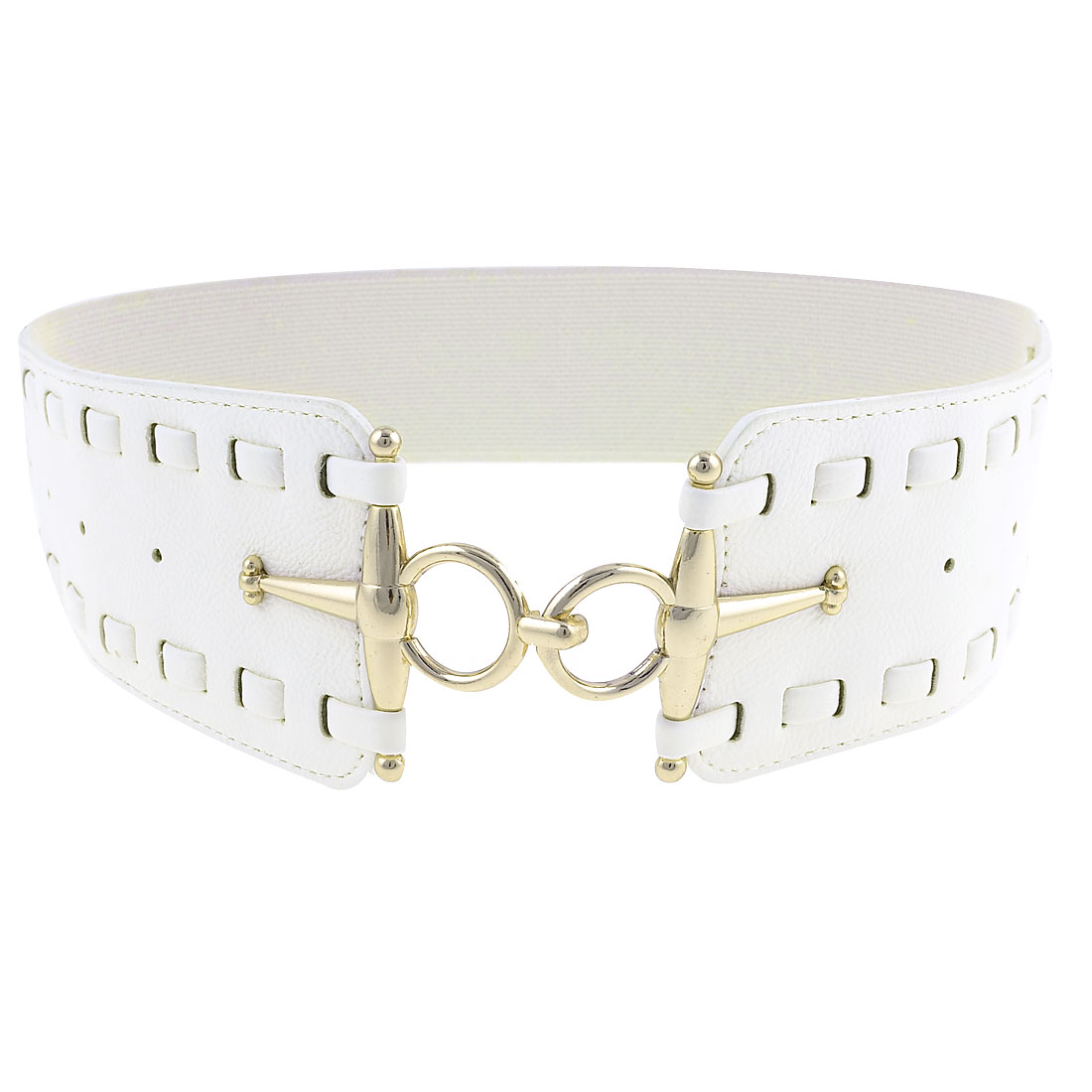 White Faux Leather Interlocking Buckle Stretchy Cinch Waist Belt for Women
