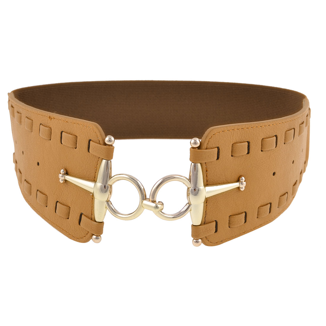 Brown Faux Leather Interlocking Buckle Elastic Waist Cinch Belt for Woman