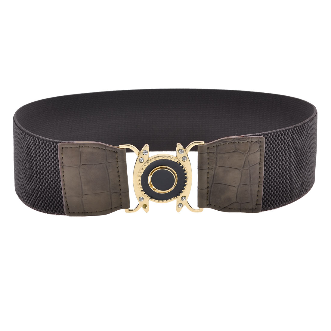 Dark Brown Interlocking Buckle Stretchy Cinch Waist Belt for Women
