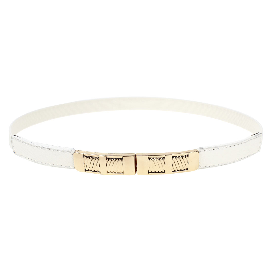 Gold Tone Buckle 1.5cm Width Stretchy Band Waistbelt Cinch Belt White for Women