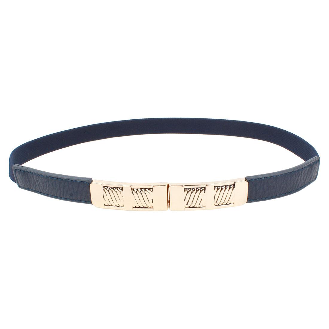 Ladies Rectangle Interlock Buckle Textured Elastic Slim Cinch Belt Royal Blue