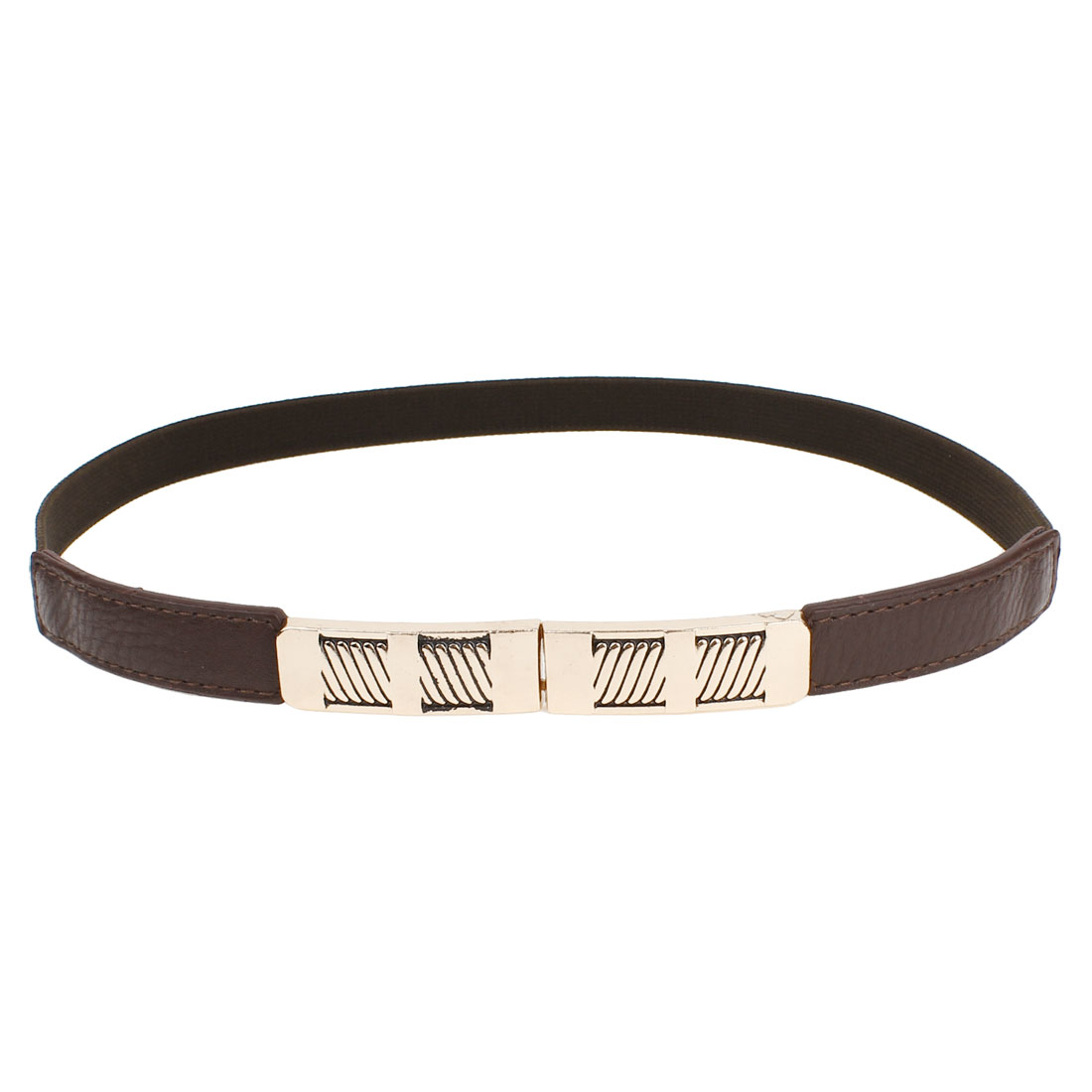Woman Coffee Color Litchi Faux Leather Buckle Part Stretch Thin Cinch Band Belt