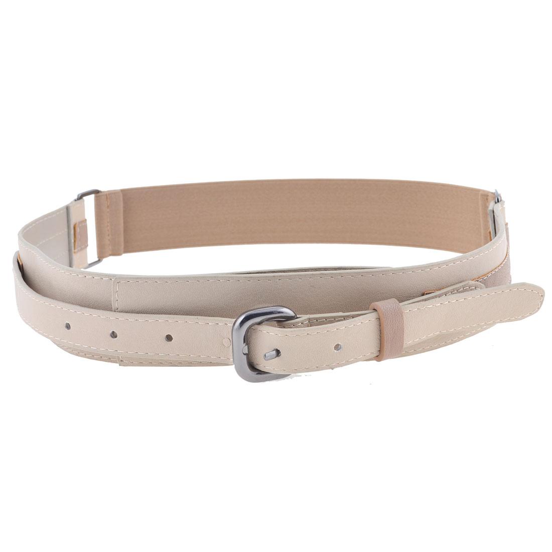Woman Khaki Faux Leather Single Pin Buckle Elastic Cinch Waist Belt