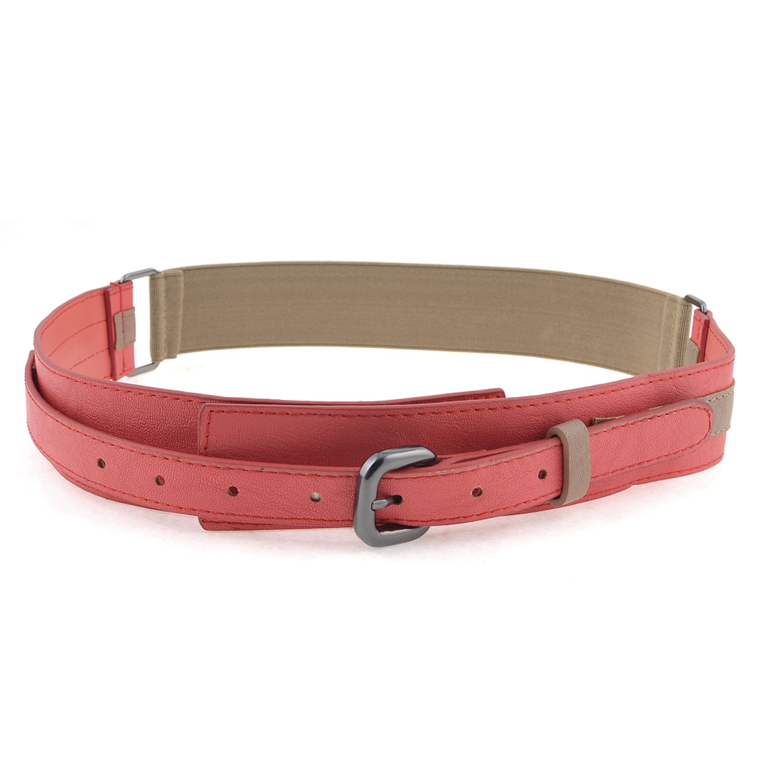 Lady Red Faux Leather Single Pin Buckle Khaki Elastic Cinch Waist Belt