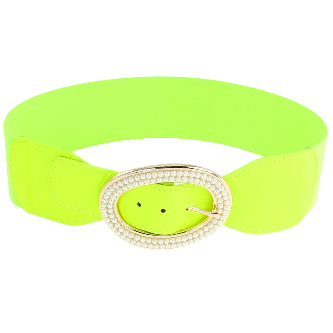 Lady Faux Pearl Inlaid Gold Tone Hollow Out Oval Design Single Pin Buckle Elastic Waist Belt Lime Green