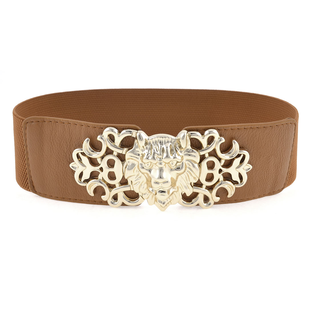 Lady Brown Lion Design Interlocking Buckle Stretchy Cinch Waist Belt