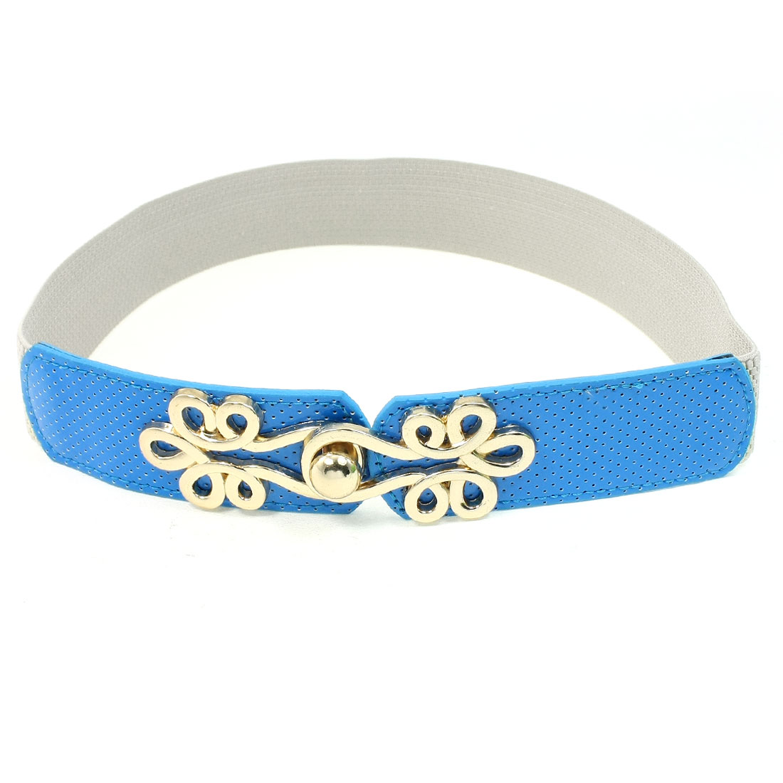 Gold Tone Interlocking Buckle Blue Faux Leather Elastic Waistbelt for Women