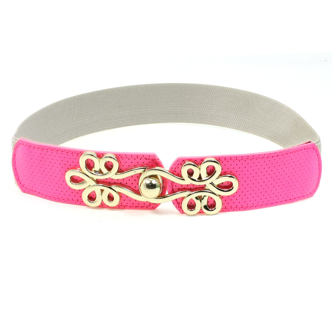 Gold Tone Metal Buckle Hot Pink Faux Leather Stretchy Waistbelt for Women