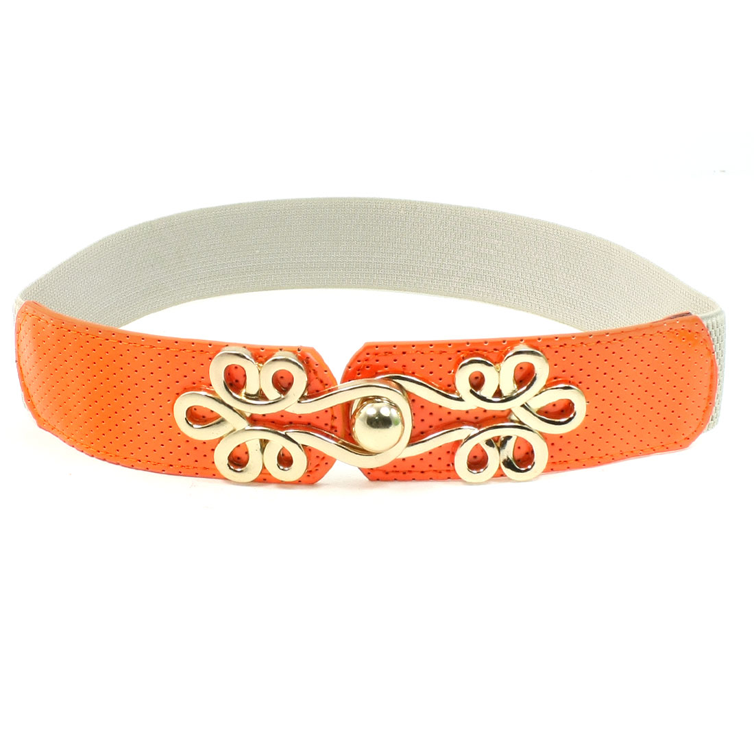 Floral Shape Buckle Faux Leather Elastic Textured Cinch Band Orange for Ladies