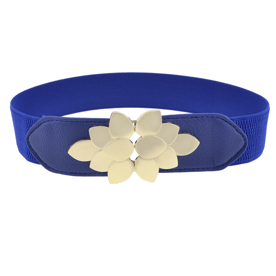 Lady Gold Tone Flower Design Interlocking Buckle Blue Elastic Cinch Waist Belt