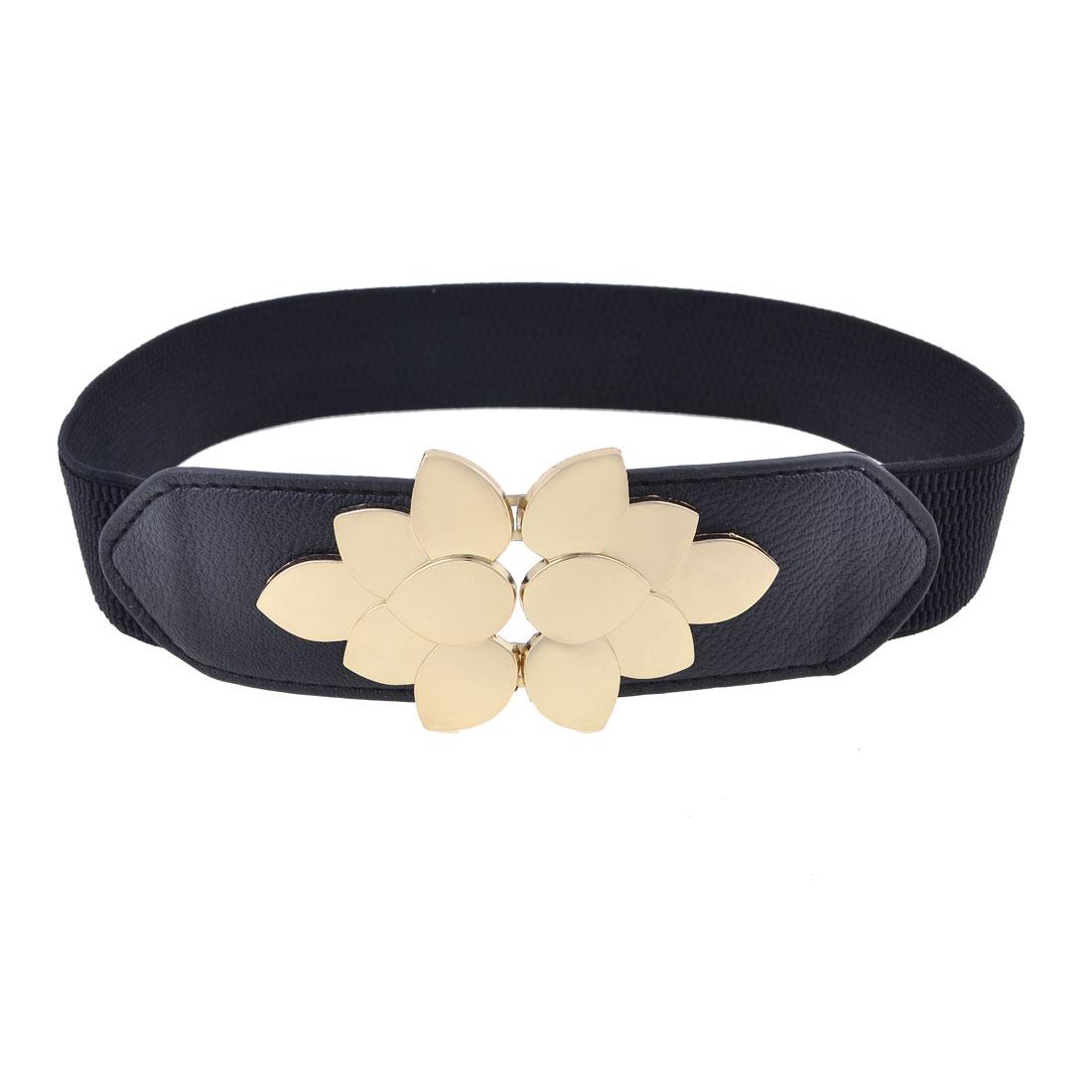 Lady Gold Tone Flower Design Metal Buckle Black Elastic Cinch Waist Belt