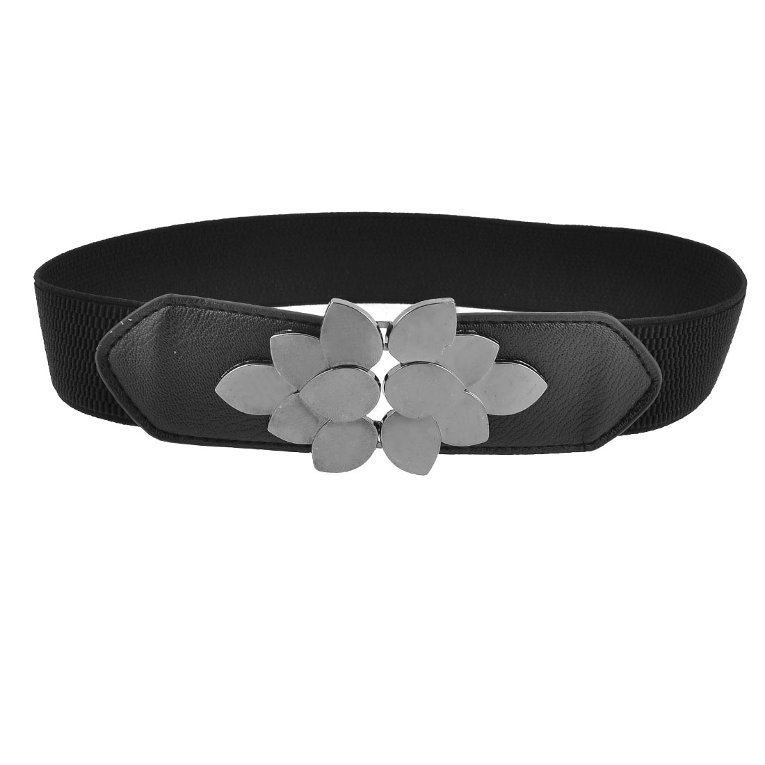 Woman Silver Tone Flower Shape Interlocking Buckle Black Elastic Cinch Waist Belt
