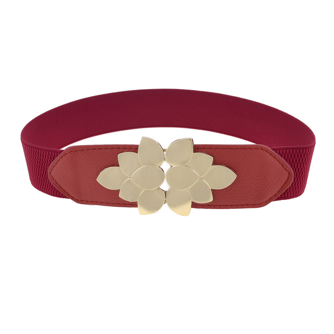 Woman Gold Tone Lutos Design Interlocking Buckle Red Stretchy Cinch Waist Belt