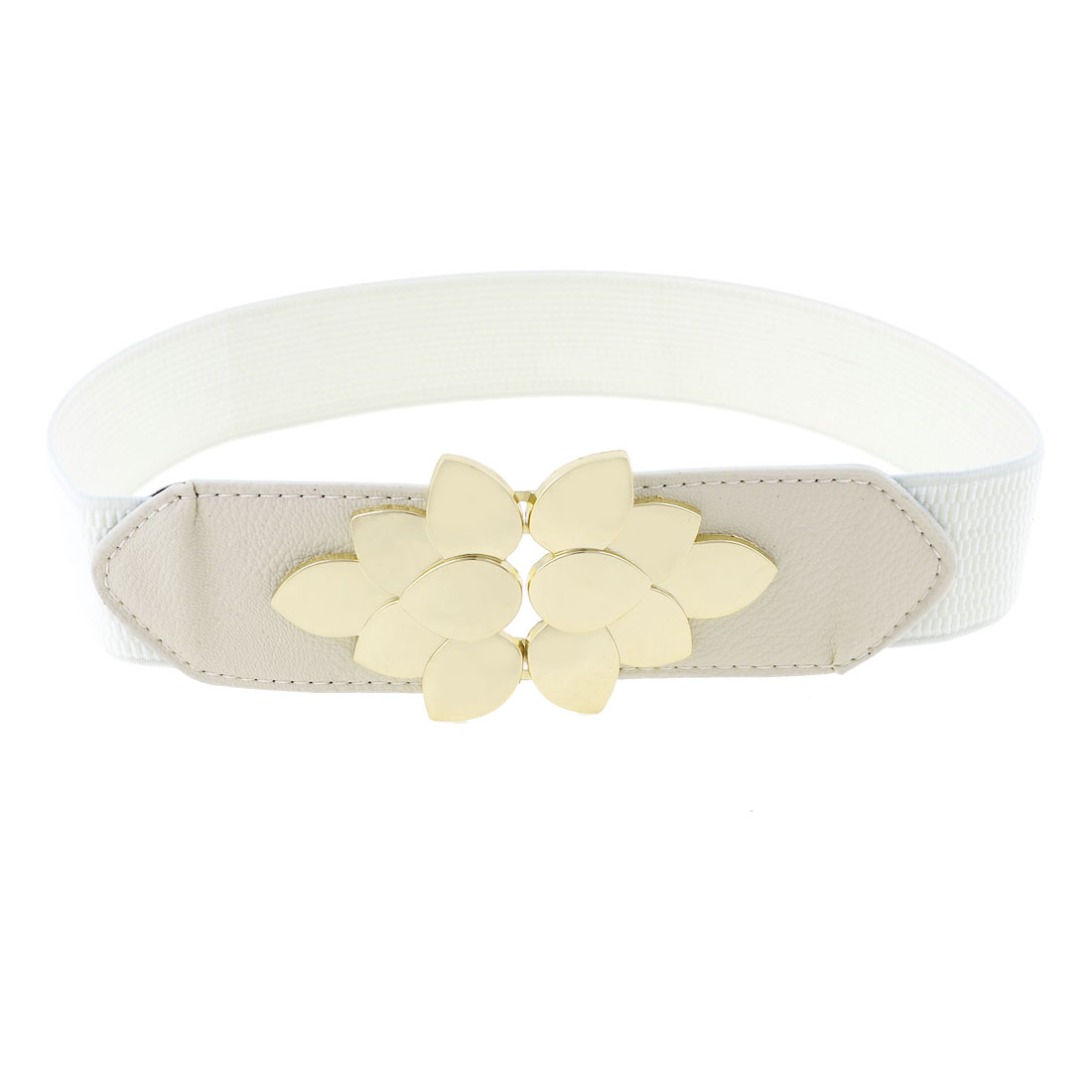 Woman Gold Tone Flower Design Interlocking Buckle White Stretchy Cinch Waist Belt