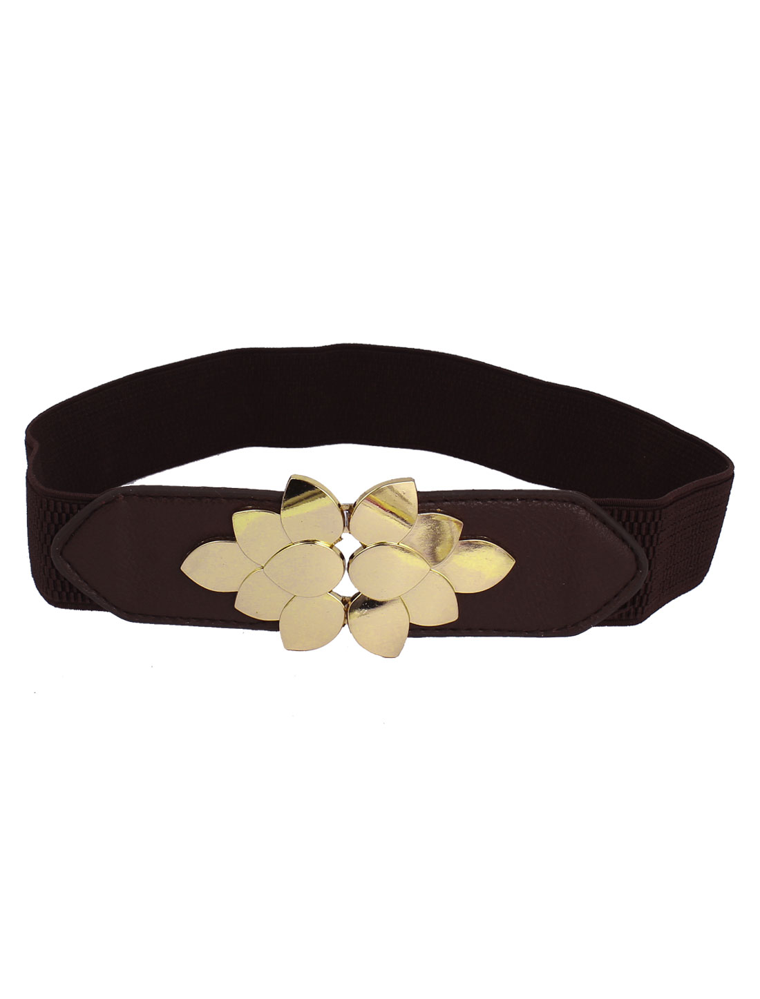 Ladies Dark Brown Gold Tone Flower Design Buckle Elastic Cinch Waist Belt