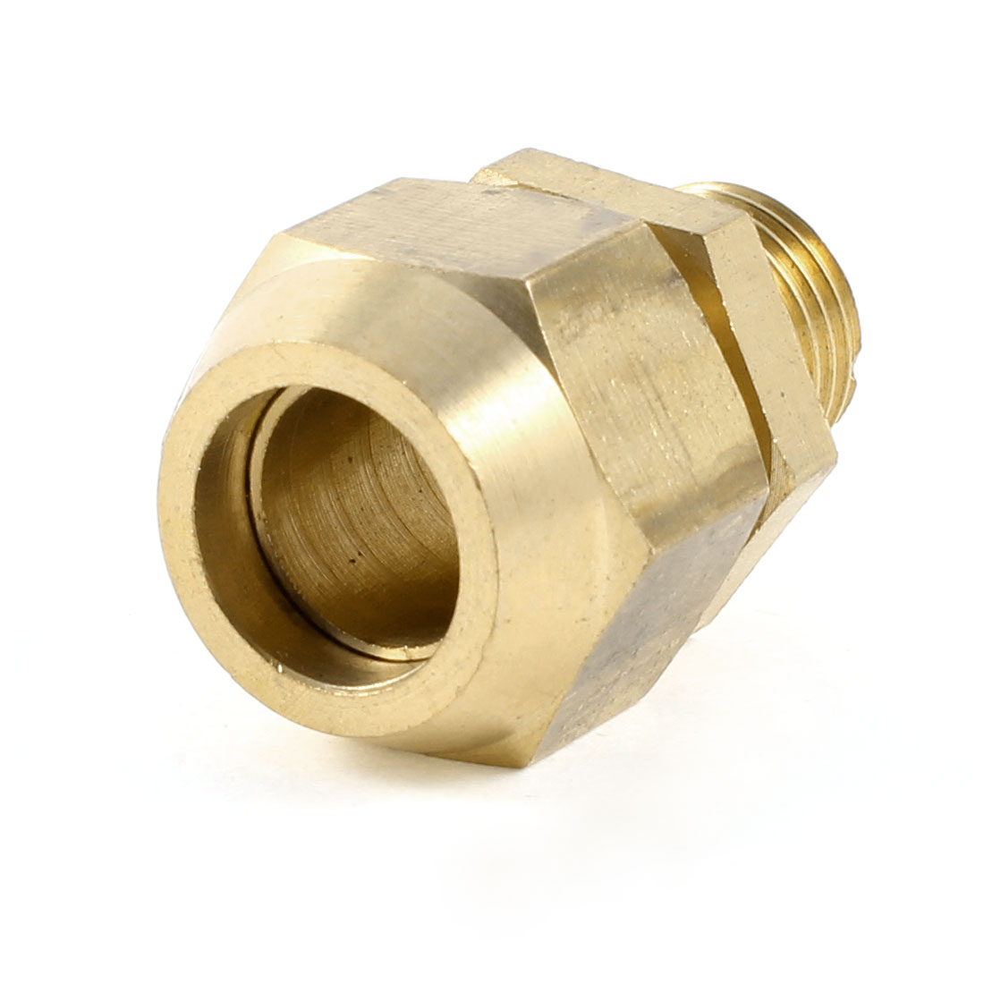 "8mm x 1/4"" PT Male Threaded Metal Adapter Hose Quick Joint Connector Gold Tone"