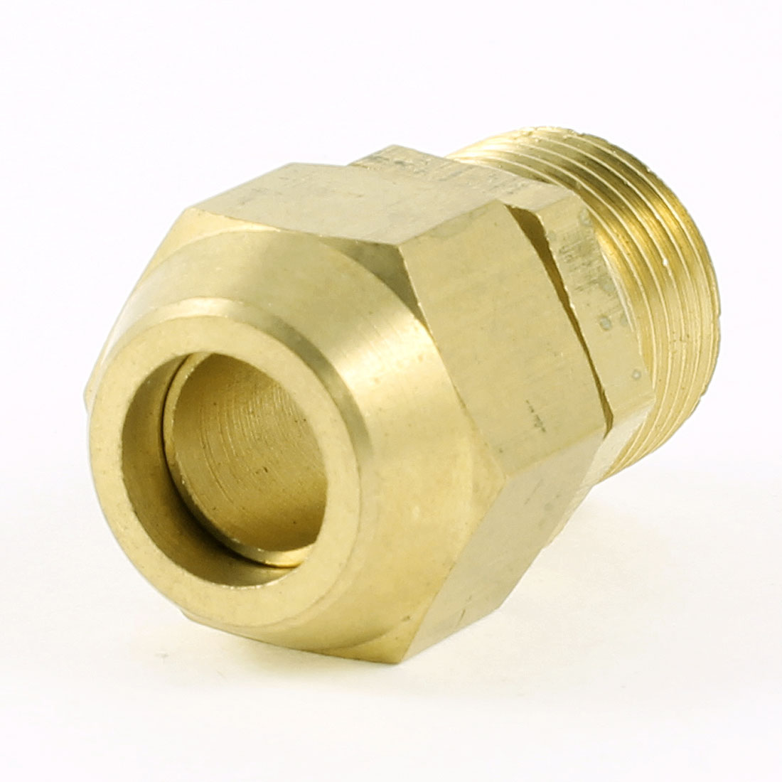 "3/8"" PT Male Threaded to 10mm Piping Air Pneumatic Coupler Connector Gold Tone"