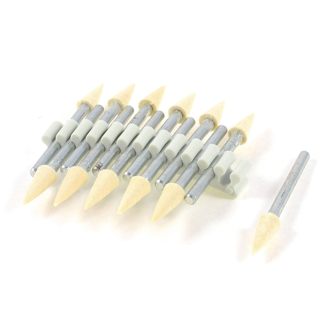 12 Pcs 3mm Shank 5mm Tapered Felt Bobs Polishing Rotary Buffing Bits