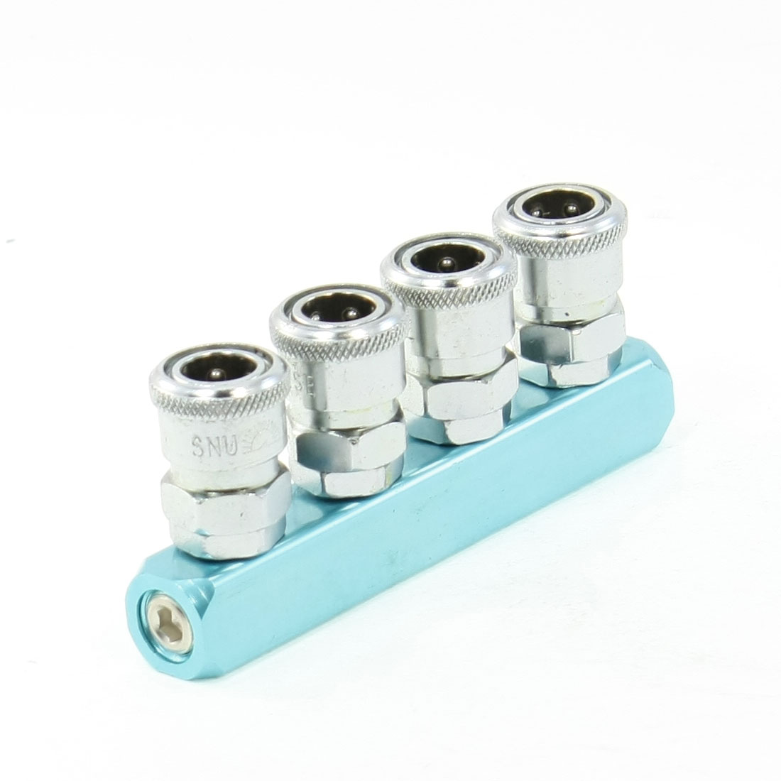 Turquoise 4 Way Air Hose Quick Connecting Coupler Connector