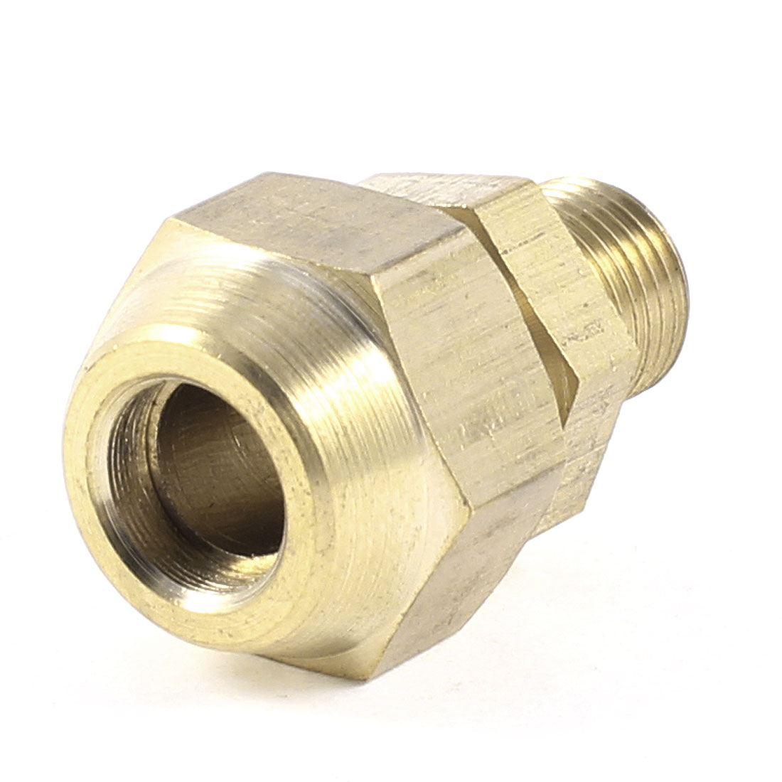 """1/8"""" PT Male Threaded Hex Bushing Hydraulic Fitting Gold Tone for 8mm Tube Pipe"""