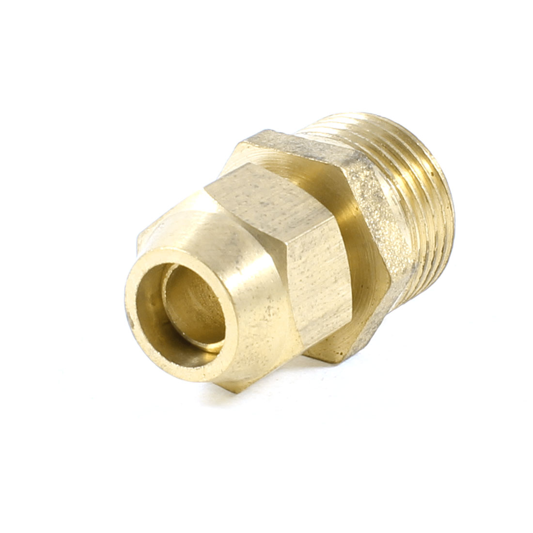 "8mm x 3/8"" PT Male Threaded Metal Adapter Hose Quick Joint Connector Gold Tone"