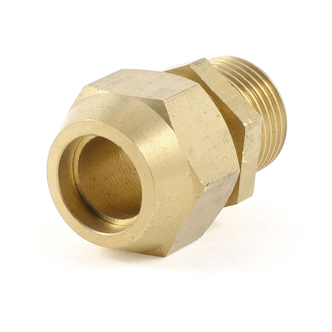 "3/8"" PT Male Threaded Hex Bushing Hydraulic Fitting Gold Tone for 12mm Tube Pipe"