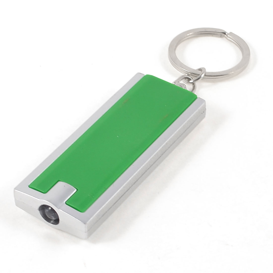 Press Button Switch LED Flashlight Metal Key Ring Green Silver Tone