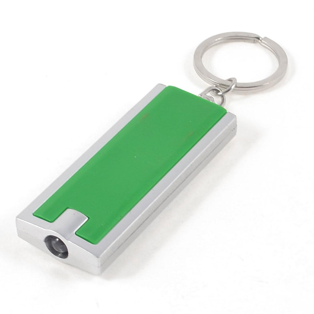 Press Button Switch LED Flashlight Metal Key Ring Green Silver Tone