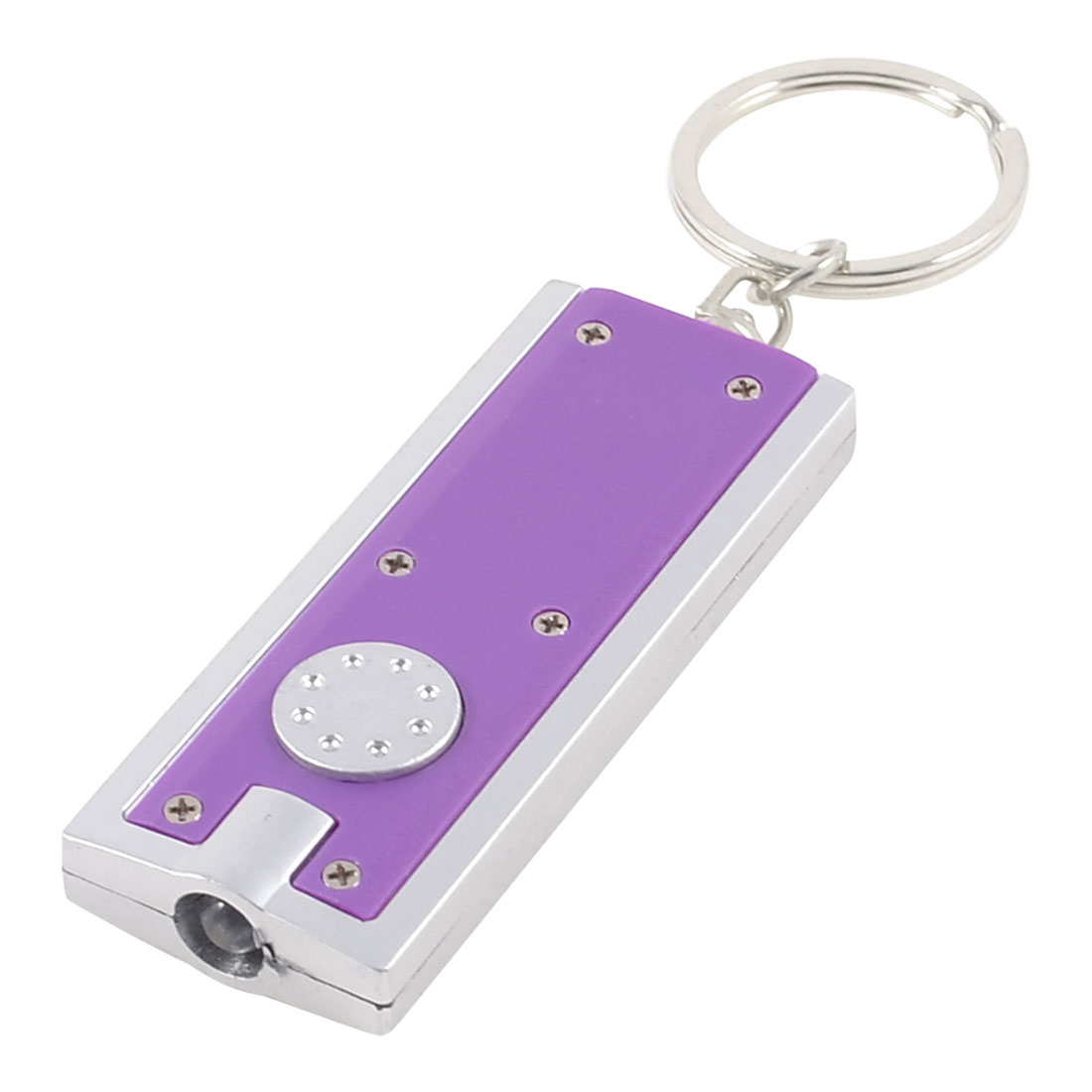 Purple Silver Tone Plastic Outer Covering LED Flashlight Key Ring