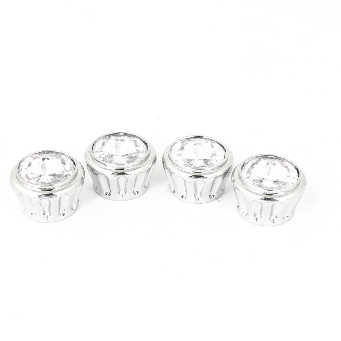 Silver Tone Clear Plastic Rhinestone Accent Auto Plate Screw Bolt 4 Pcs