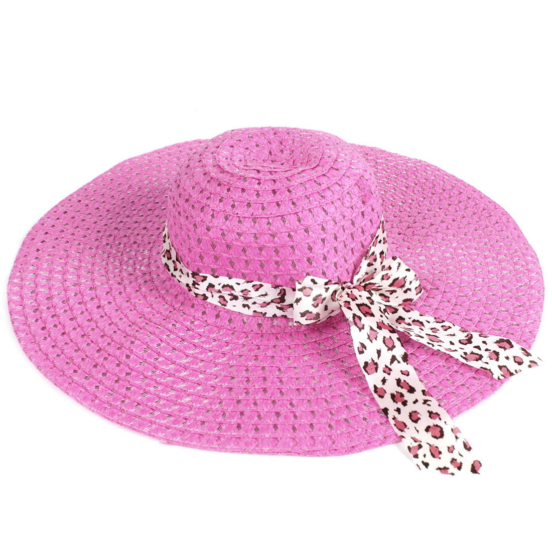 Hollow Out Nylon Mesh Leopard Print Ribbon Wide Sun Visor Hat Pink for Lady
