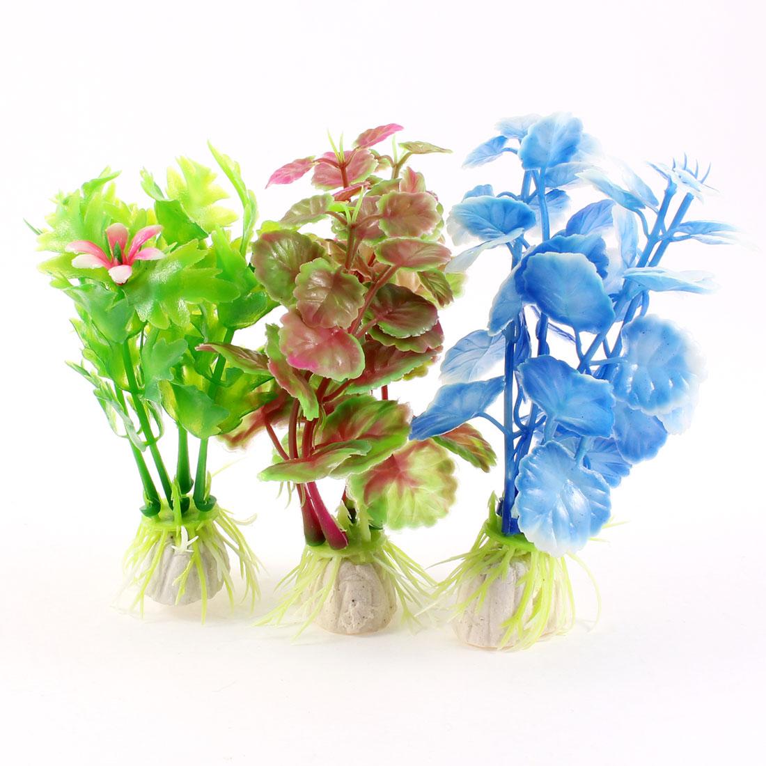 """3.9"""" Aquarium Landscaping Ornament Assorted Color Plastic Water Plant Grass 3 Pcs"""