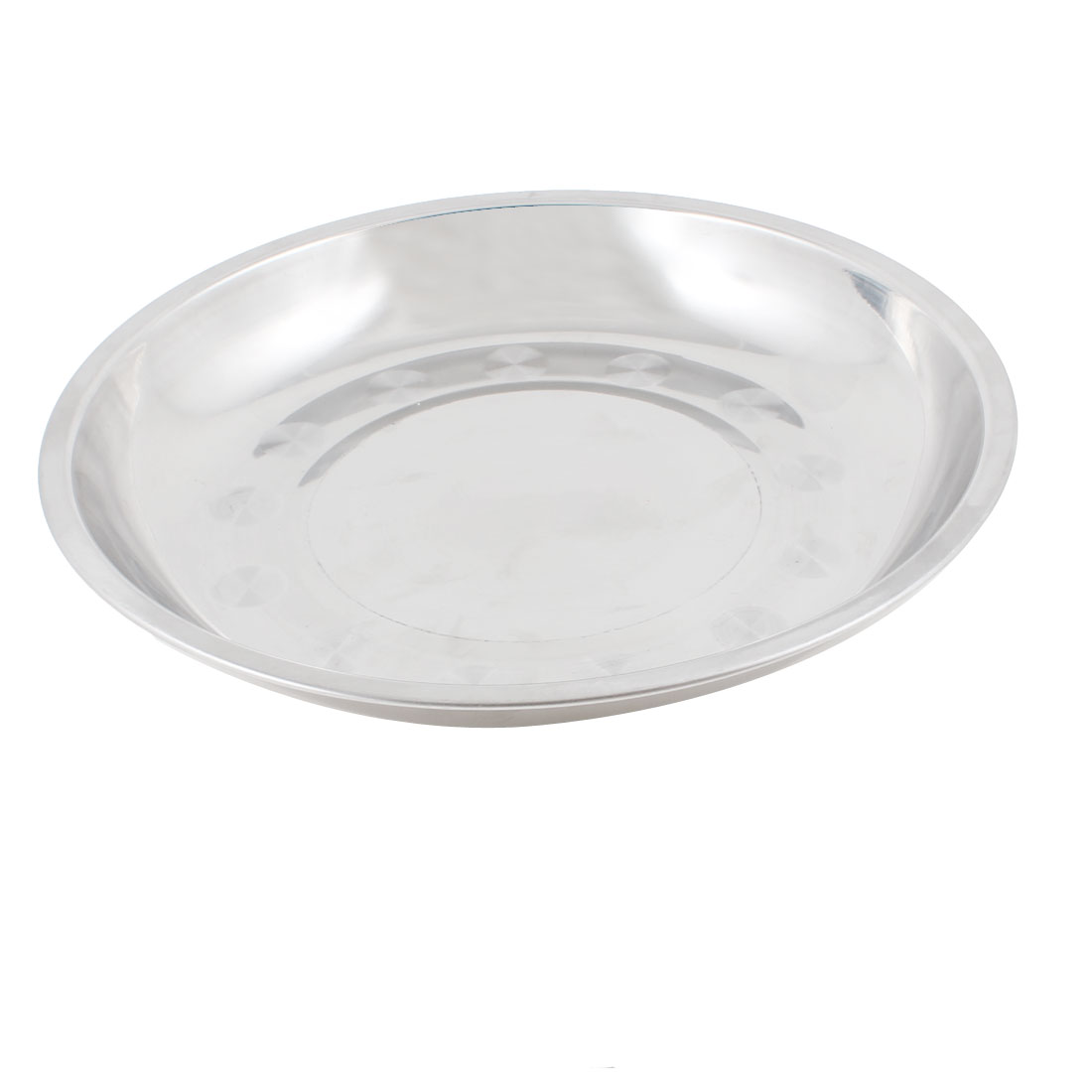 "Kitchen 9.3"" Dia Stainless Steel Dinner Plate Food Container Silver Tone"