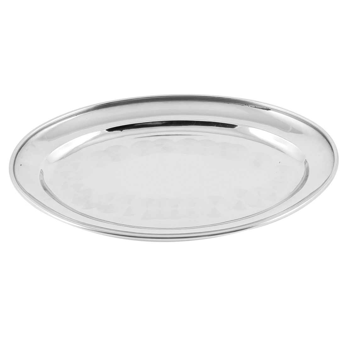 Home Kitchen Silver Tone Stainless Steel Dinner Plate Dish Tray 21.5cm x 14.5cm